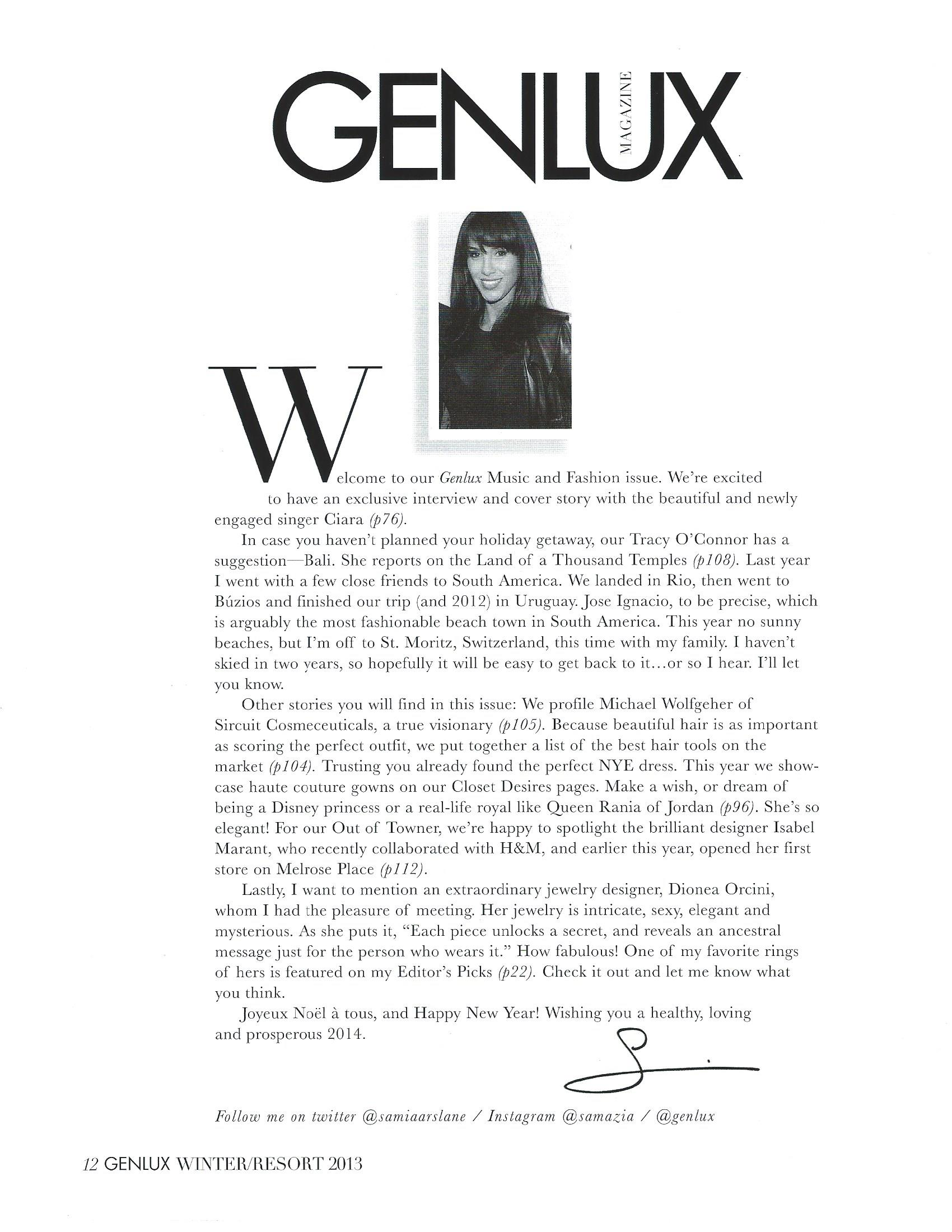 Genlux Magazine Winter-Resort 2013 Editor's Mention